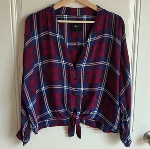 Rails Plaid Sloane Button Front Top Size Large
